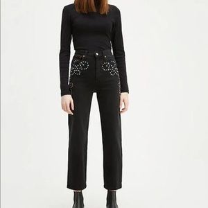 Levi's Studded Rib Cage Straight Ankle Black Jeans